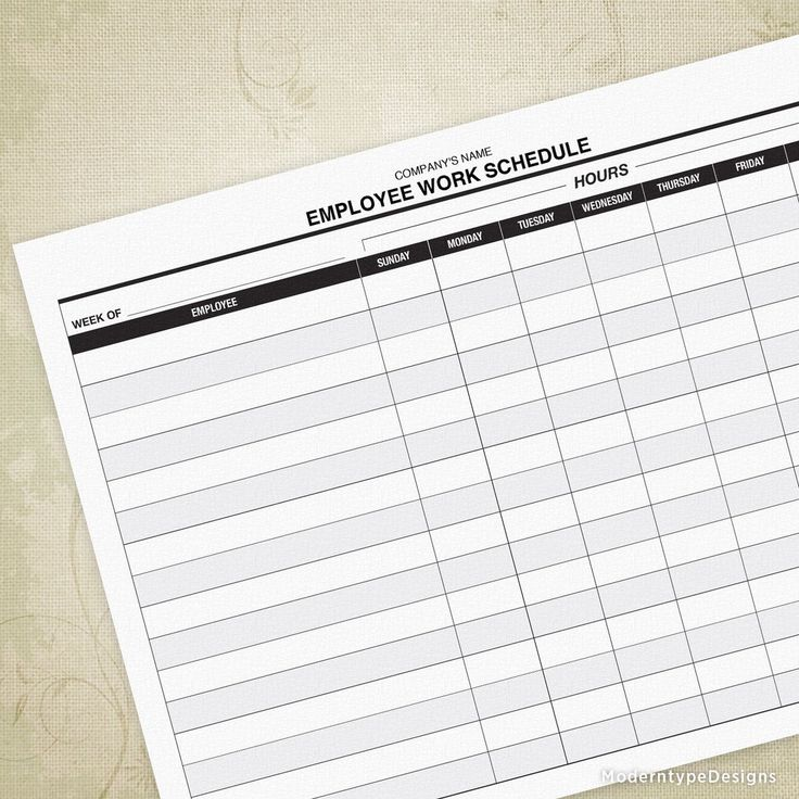 Employee Work Schedule Printable Form (editable ...