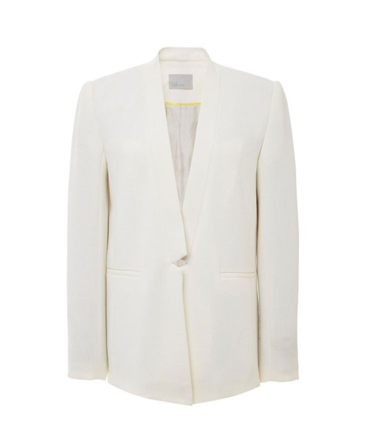 Zoe Jordan's Kessel jacket is the epitome of white-out minimalism. Cut with a neatly notched lapel and signature ZJ stripe to the reverse, we have a feeling that this carefully tailored jacket is going to become one of those simplistic pieces you turn to again and again. #zoejordan #clerkenwellldn