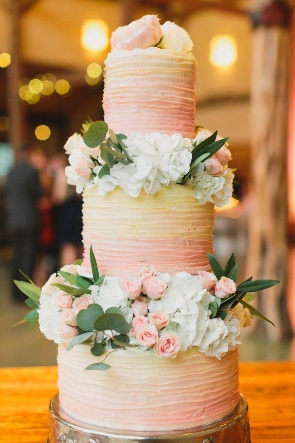 Ombré: orange yellow wedding cake. Barr Mansion Cake | Urban Grey Photography
