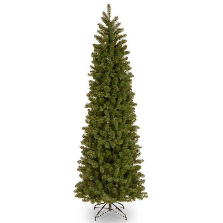 $89.98 Home Accents Holiday 7 ft. Feel-Real Downswept Douglas Slim Artificial Christmas Tree-PEDD1-527-70 - The Home Depot  7 ft. tall with 30 in. base -Features metal hinged construction (branches are attached to center pole sections) for easy setup and storage-Comes in 3 sections for quick and easy assembly