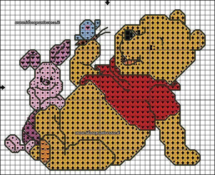 17 migliori immagini su schemi winnie the pooh su for Punto croce disney winnie the pooh