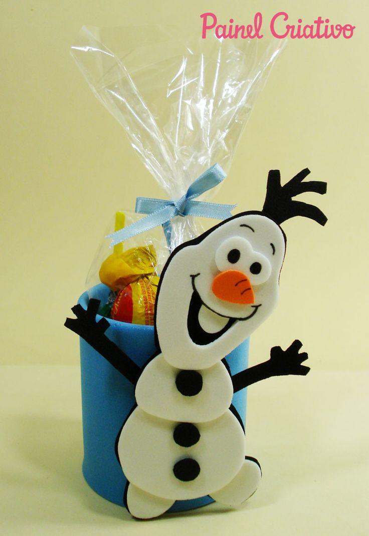 Como fazer lembrancinha aniversario Frozen  boneco Olaf porta guloseima EVA e latinha crianças festinha infantil