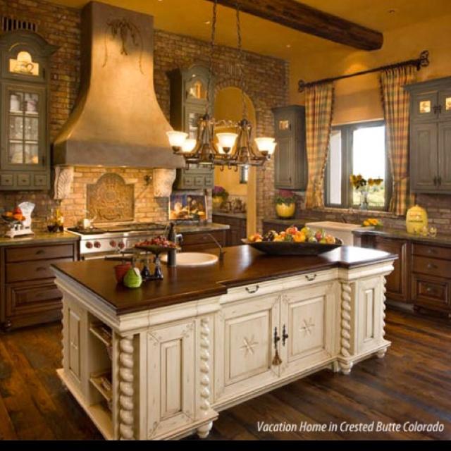 Gorgeous Kitchens: Gorgeous Kitchen- Love The Brick Walls