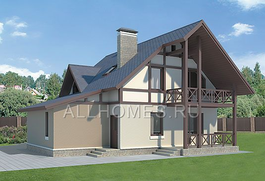 Проект загородного дома I-136-1P. Вид сзади
