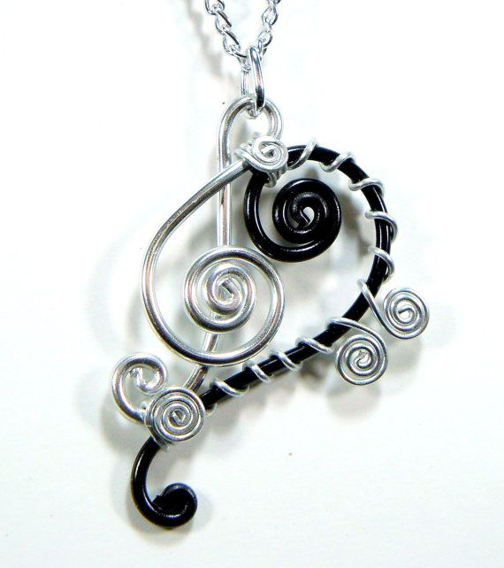 Bass and Treble Clef Pendant Necklace by melissawoods on Etsy