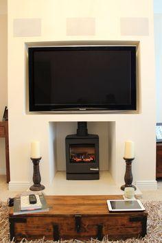 Image result for tv above log burner