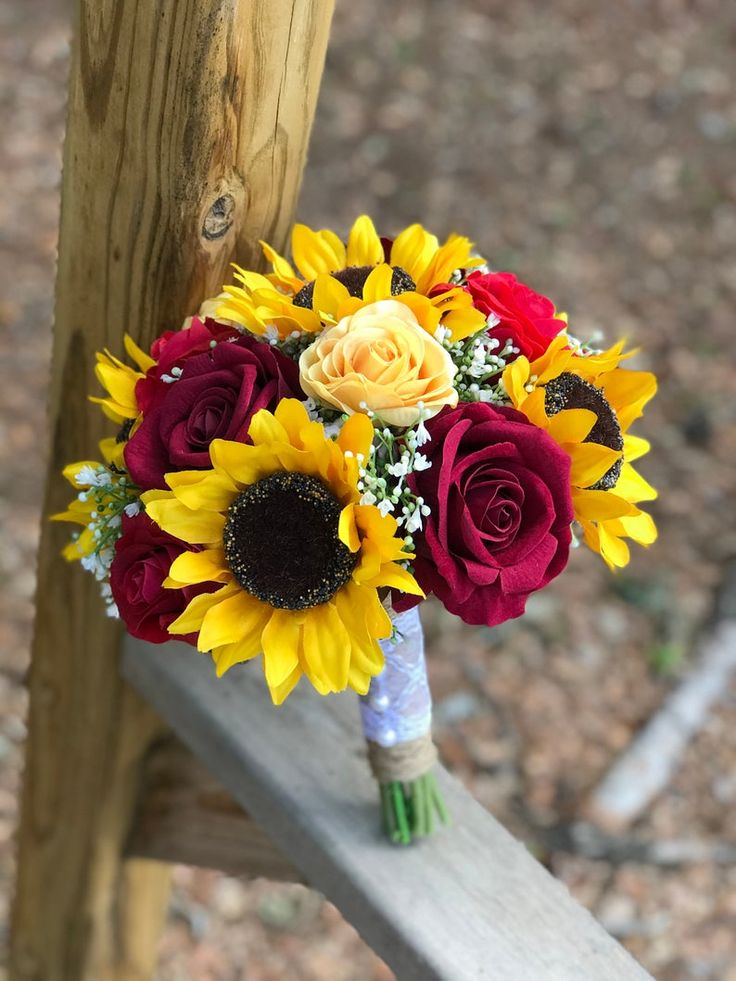 Rose and Sunflower Bouquet Bride Bouquet Sunflower Bouquet ...