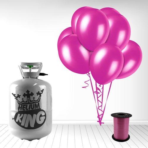 Lille Helium Gas Cylinder inkl. 30 Fuchsia Mørkelyserøde Balloner og Bånd
