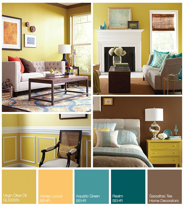 This yellow-teal inspired palette would brighten up any living room! Get more inspiration from The Home Depot Blog.