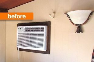 Cover up an AC unit with a chalkboard cover. | 42 Ingeniously Easy Ways To Hide The Ugly Stuff In Your Home