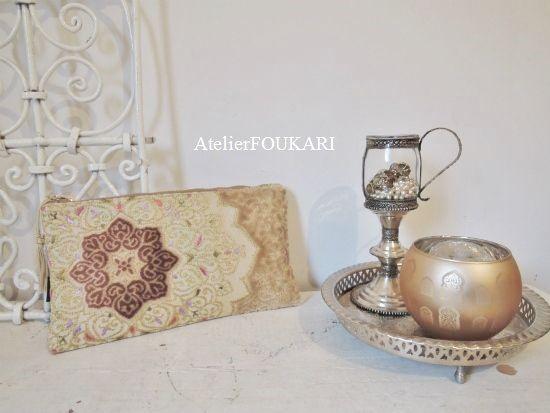 モロッコファブリックのアラベスクポーチ*八芒星 - モロッコ雑貨とモロッコファッション|Atelier FOUKARI
