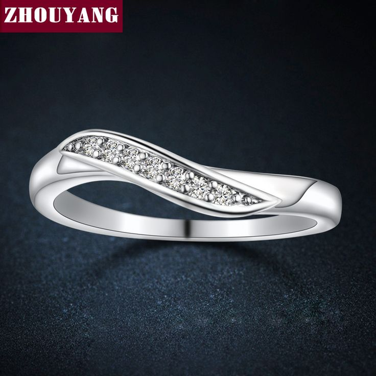 ClassiSimple 7 Stone White Gold Plated CZ Diamond Wedding Engagement Ring For Women Man Full Sizes Wholesale ZYR527