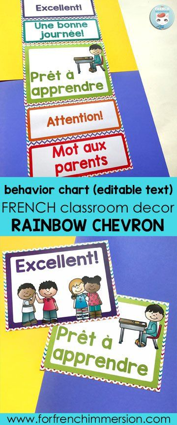 French Classroom Decor Rainbow Chevron: behavior chart. Editable (text) file included so that you can add the words you use in your French classroom!