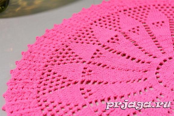 Розовая салфетка крючком, схема