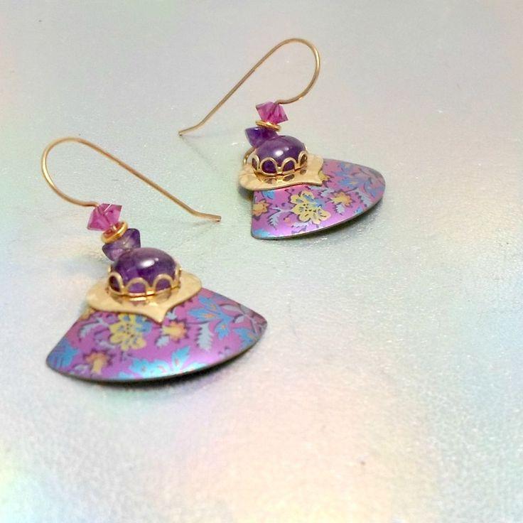 Pierced earrings goldtone red crystals AMETHYST fan embossed dangle #Unbranded #dropdangle