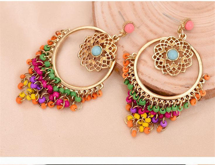 Big Statement Earrings for Women Brincos Grandes New Arrival Fashionable Gold Color Alloy Colorful Rhinestone Drop Earrings