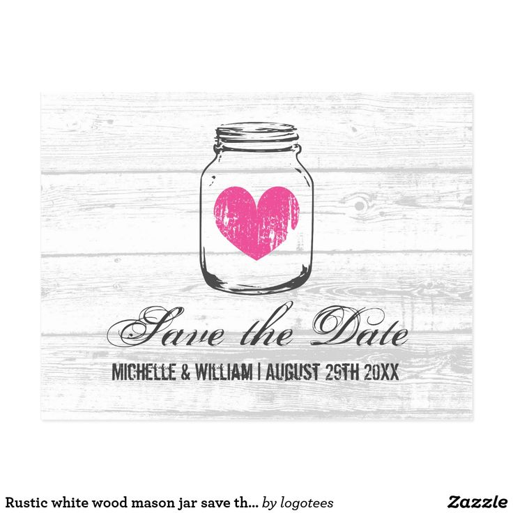 Rustic white wood mason jar save the date cards Light white barn wood grain oak panel postcards. Country chic glass mason jar save the date cards for guests. Part of rustic theme matching collection stationery pack set. Cute DIY postcard design with fuchsia pink vintage faded heart. Perfect for summer garden marriages in july and august. Personalize with name of bride and groom plus date of getting married. Customizable background color. Stylish distressed script typography. Beautiful shabby…