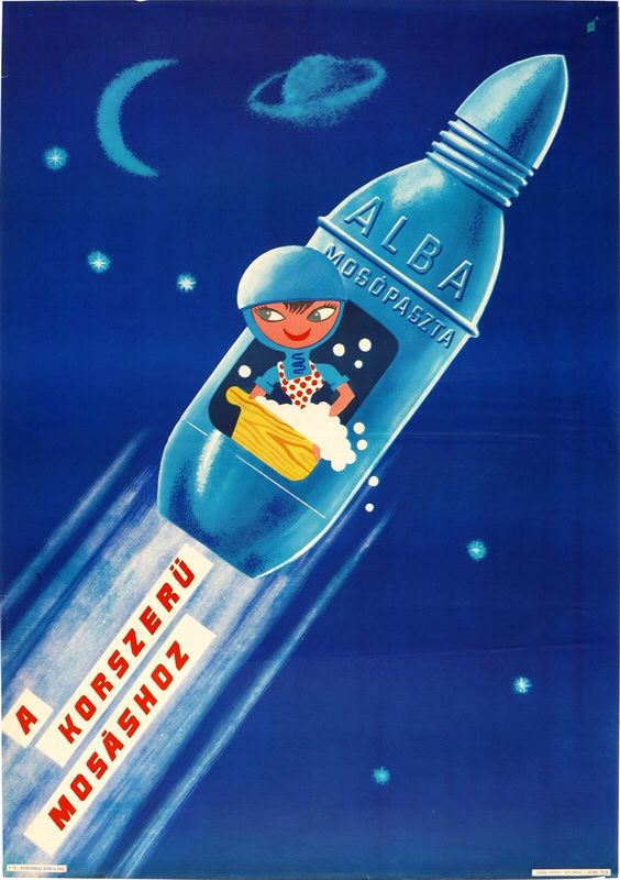 Hungarian detergent commercial from the sixties inspired by the space race between east and west.