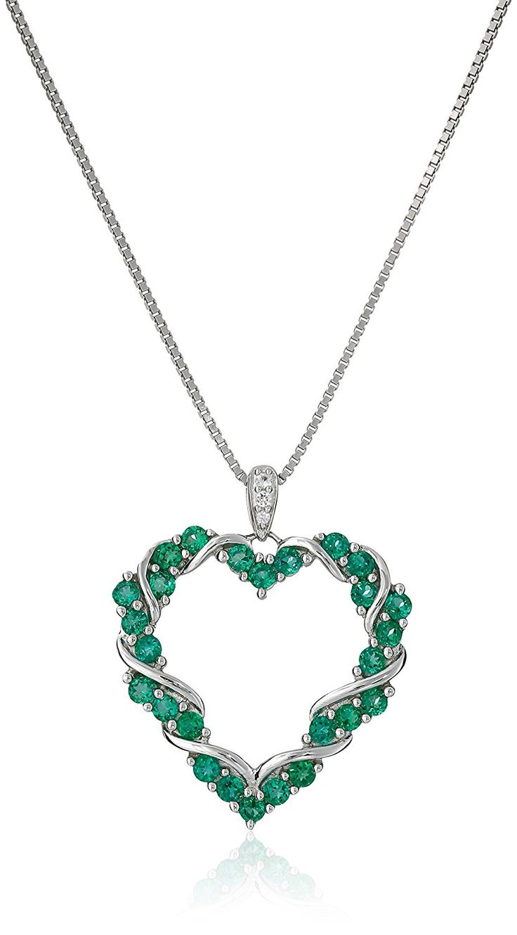 Sterling Silver Heart-Shaped Pendant Necklace with Created Emeralds and White Sapphires, 18' * Find out more about the great product at the image link. (This is an Amazon Affiliate link and I receive a commission for the sales)