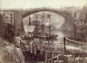 One of the earliest photographs of Sunderland shows the Wearmouth Bridge before it was rebuilt in 1858. It shows the bridge shipyard, and two brigs moored in the river.