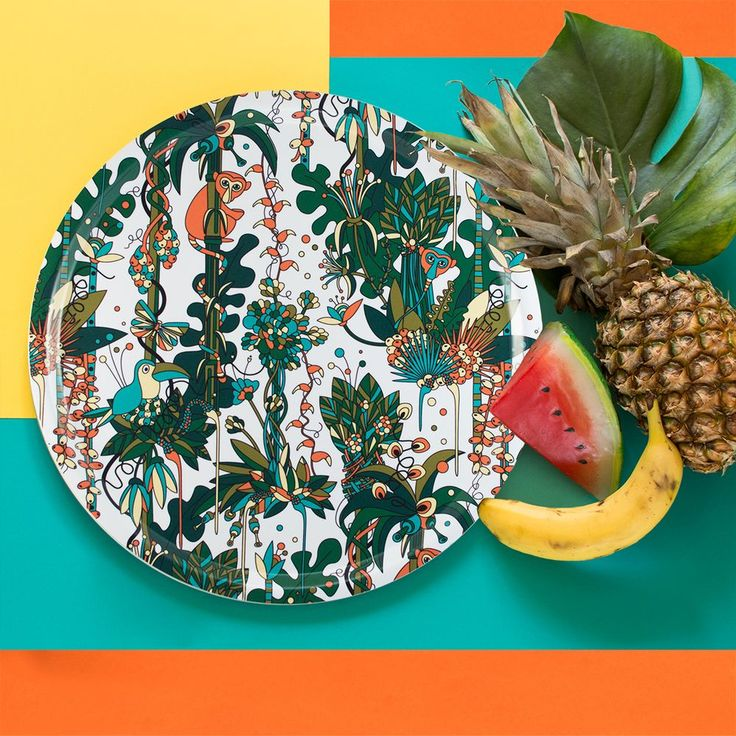 GO BANANA and pineapple with Floresta - Tropical, a tray collection by Plattform Studio www.plattformstudio.com Print, pattern and product design