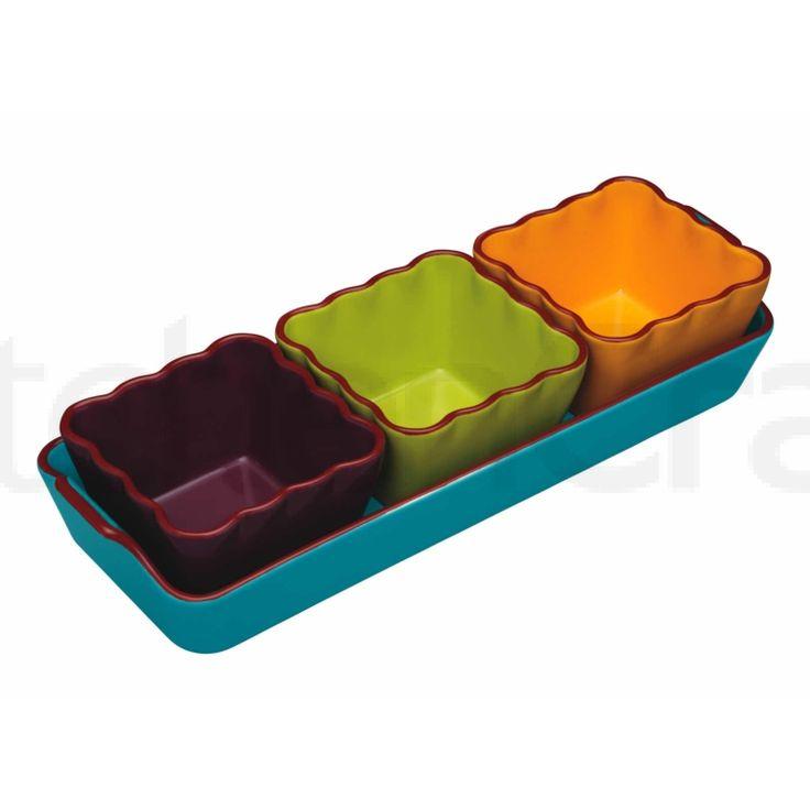 World of Flavours Mexikanisches Keramik-Dip-Servier-Set, 4-teilig | Mexican | International Cooking | Products | Kitchen Craft