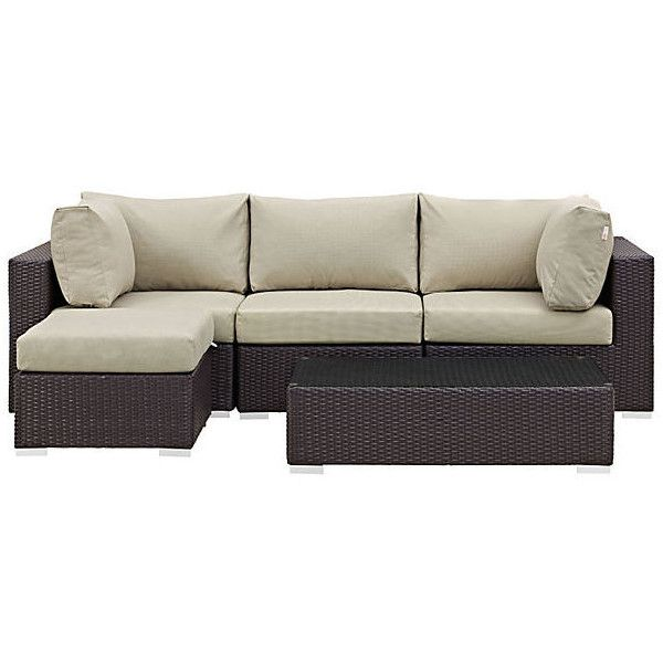 Sectional Frisco 5-Piece  Set Beige Outdoor Lounge Sets ($1,499) ❤ liked on Polyvore featuring home, outdoors, patio furniture, all weather outdoor furniture, outside patio furniture, outdoors patio furniture, woven patio furniture and 5 piece sectional