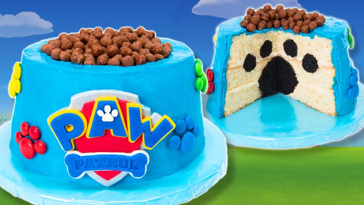 PAW Patrol Cake with a hidden paw print inside the cake