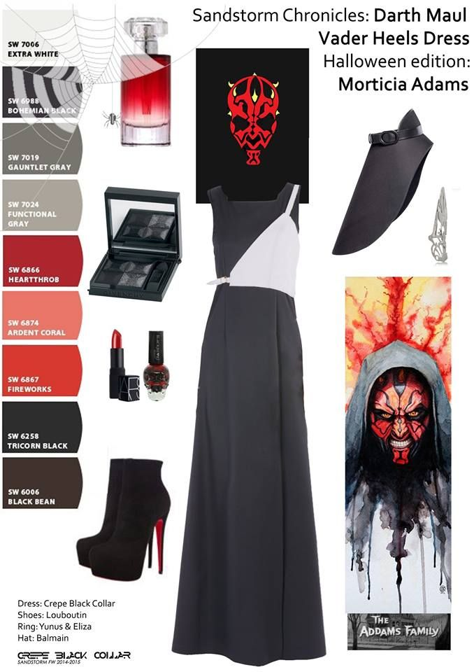 "Get the look at https://www.facebook.com/crepe.black.collar.ro #Sandstorm #Chronicles: ""How to be #chic on #Halloween"": be edgy and elegant in a #morticiaadams #halloweencostume. #DarthMaul is wearing #CrepeBlackCollar #blackdress and #silver #shield #louboutin #heels #balmain hat and #yunus and #eliza ring. Have a #spooktacular night! #palette #red #black #collage #halloweenidea #outfitpost #ootd #fashionlover #fashionaddict #starwars #trend print by David Kraig, poster by Ryan M. Russel"