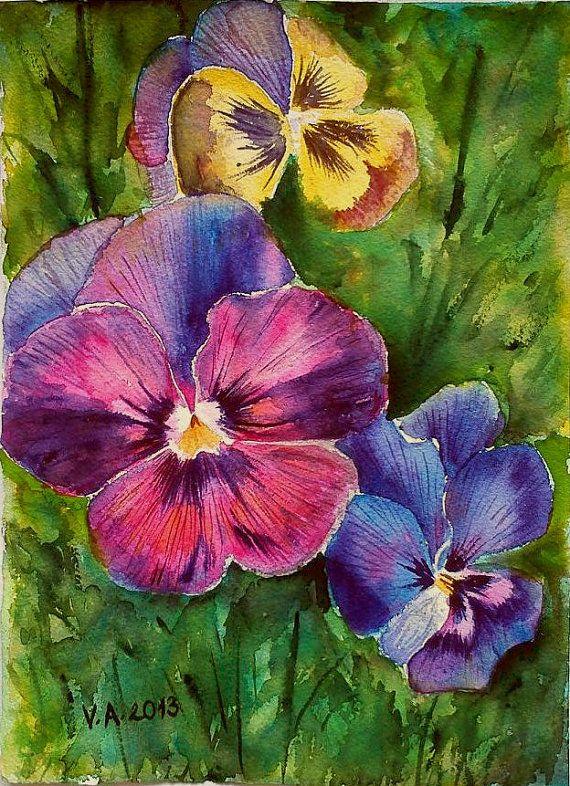 Watercolor Painting violets | Violets, original watercolor painting, aquarelle, watercolor flowers ...
