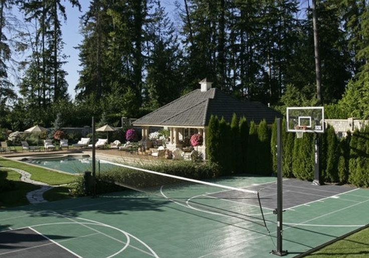 The camarillo house backyard pool and multi sport court for Backyard sport court ideas