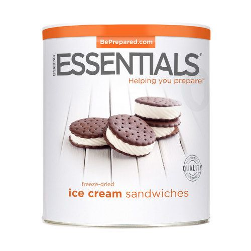 Emergency Essentials freeze-dried ice cream sandwiches are made with delicious vanilla ice cream between two chocolate wafers, processed and packaged to store long term. A delightful comfort food for your emergency food storage. Makes a great dessert or snack.