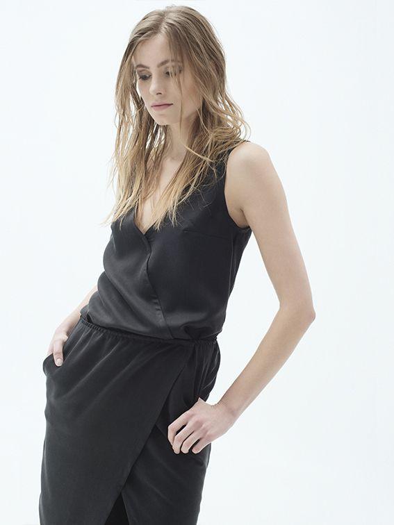 Cupro v-neck sleeveless top