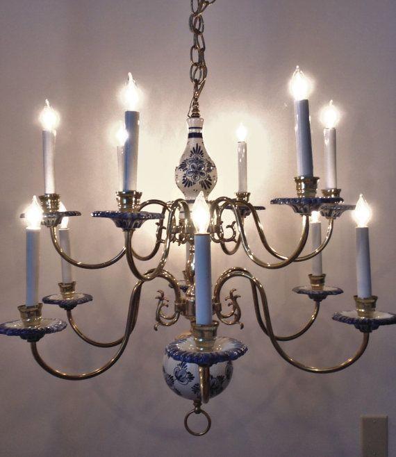 7 best delft chandeliers images on pinterest chandelier superb vintage delft chandelier two tier by coyotemoonantiques mozeypictures Gallery