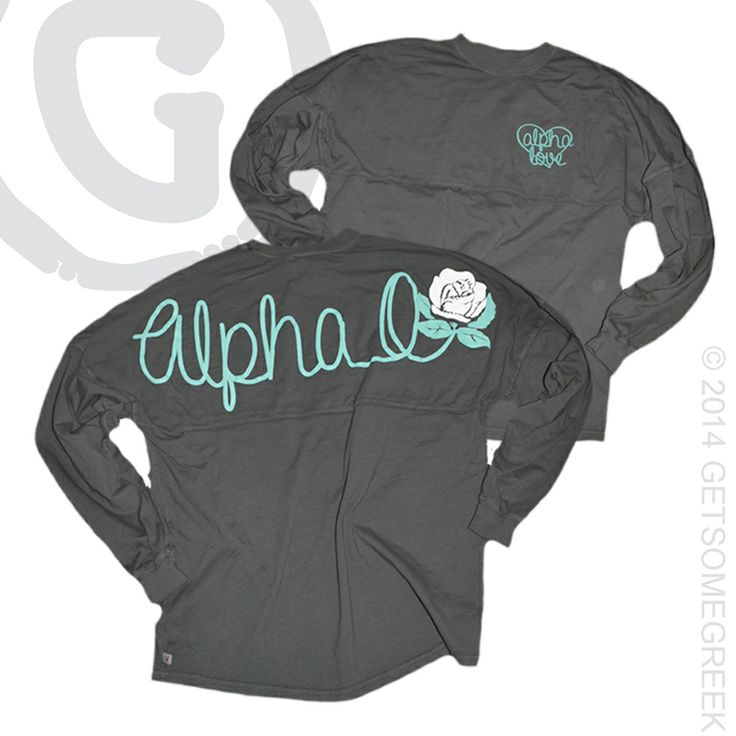 ALPHA OMICRON PI CUSTOM GROUP ORDER ON SUPER CUTE COASTAL JERSEYS! LOVE THE ALPHA O & ROSE! GRAY AND TEAL! GETSOMEGREEK!