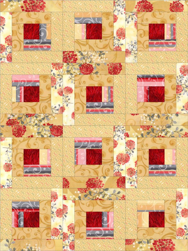 Crimson Gold Log Cabin Pre Cut Quilt Kit Blocks Products