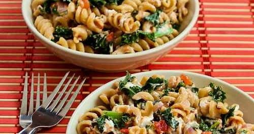 Vegetarian Whole Wheat Pasta Recipe with Fried Kale, Tomato Sauce, and Goat Cheese