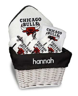 11 best chicago bulls baby gifts images on pinterest aprons our personalized chicago bulls medium gift basket is a perfect basketball baby gift with 2 burp negle Choice Image