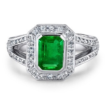 Angara Emerald Ring - GIA Certified Oval Emerald Ring with Half Moon Diamonds AlpRZd