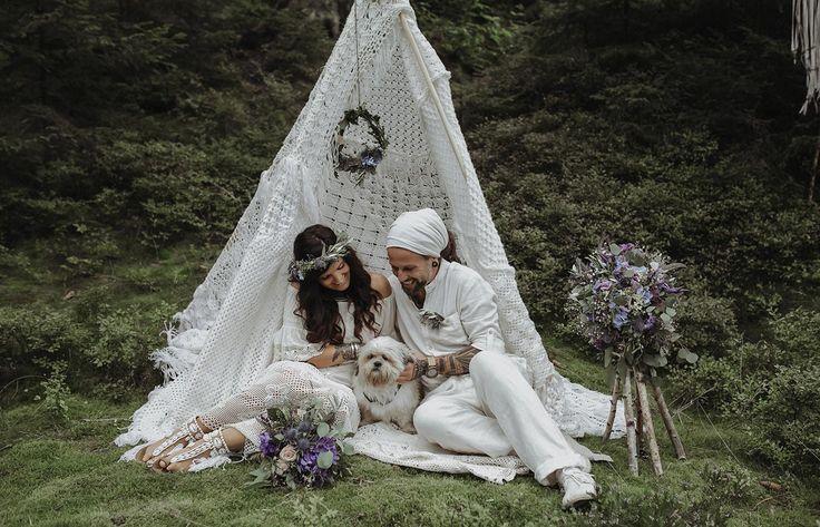 Vertrauen  Boho Wedding After Wedding Vintage dog happy couple love tipi flowers bride hochzeit