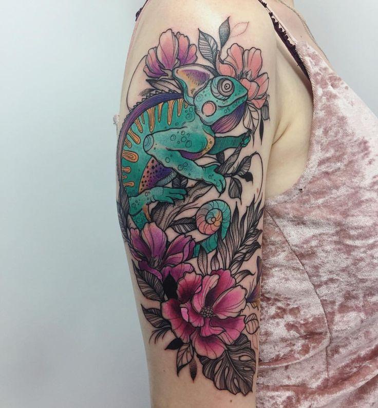 Chameleon tattoo by Karolina Skulska
