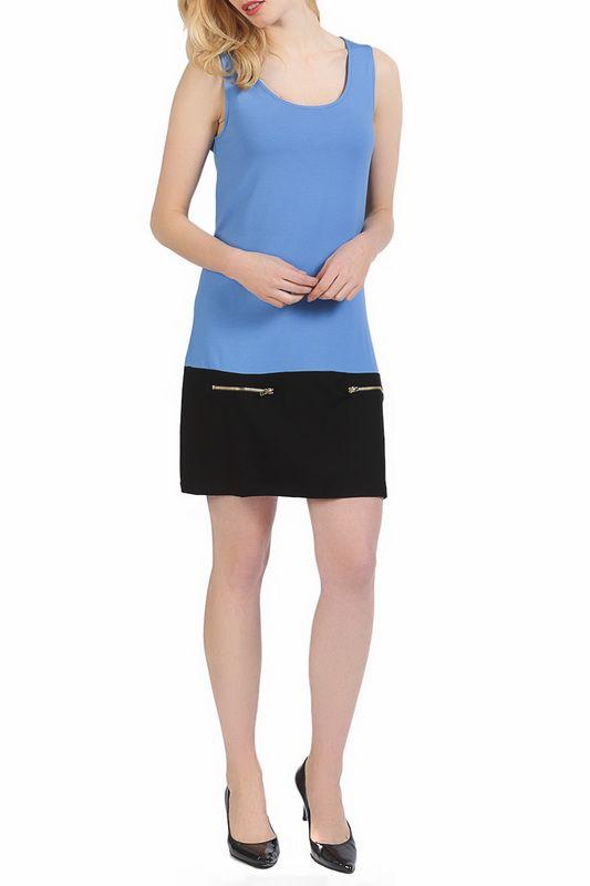 обтягивающее платье короткой длины, из трикотажной ткани, синего цвета, без рукавов