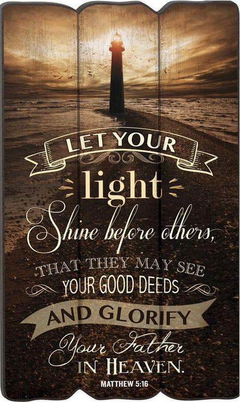 'Let Your Light' Lighthouse Fence Post Wall Sign