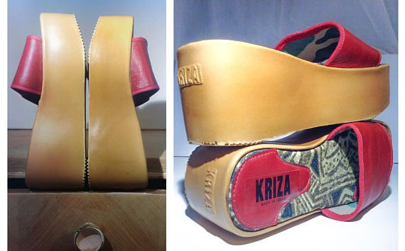 Vintage 90s Red Mustard Yellow Chunky Genuine Leather Mule