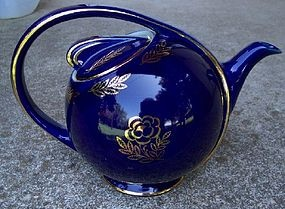 Hall China Airflow Teapot, Cobalt Blue with Gold Accents, 1940s