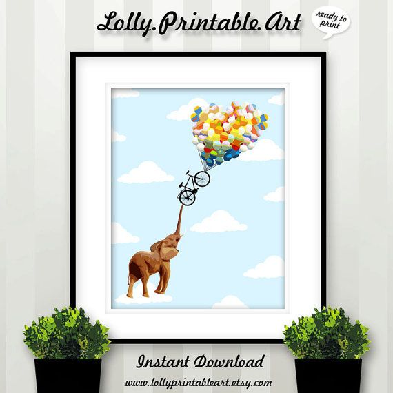 Unique Printable Art (Elephant Balloons) by LollyPrintableArt
