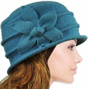 Daisy Flower Wool Cloche Hat