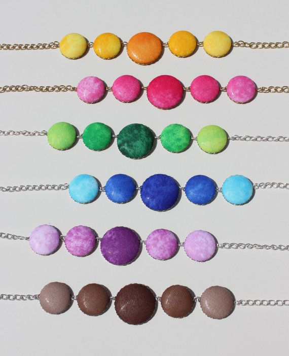 Ombre Fabric Covered Button Necklace by kellembell on Etsy, $22.00