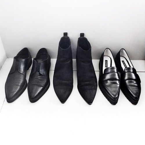 Shoes black leather loafers slippers boots brogues lace up work shoes autumn Le basic
