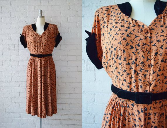 1940s Novelty Print Day Dress | Orange and Black Print | 1940s Rayon Dress | 1940s Shirtwaist